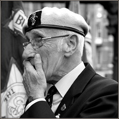 Emotions (* RICHARD M (Over 5 million views)) Tags: portraits mono glasses blackwhite candid patriotic portraiture specs emotional remembrance patriots eyeglasses patriotism beret emotions spectacles sreet southport seniors veterans armedforces thethinker remembering pensioners merseyside streetportraits sefton oaps shirtandtie armedforcesday streetportraiture oldsoldier exservicemen candidportraits candidportraiture capbadge collarandtie bulldogbreed oldcomrades oldbrit hmarmedforces oldbrits ukarmedforcesday militarycapbadge