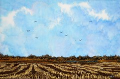 The Days are Cooler Now, 2013  (sold) (My Sweet Prairie - Monika Kinner) Tags: art thread painting landscapes artist winnipeg embroidery sewing farmland prairie saskatchewan fiber stitched fibre threadpainting mcnallyrobinsons monikakinnerwhalen