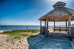 Gazebo on the Bay (Digital World of Paul) Tags: sun ny newyork beach water grass landscape li harbor sand nikon gazebo longisland hdr bluepoint liny 1424 originalphotography nikon1424f28 d800e nikond800e lensblr photographersontumblr