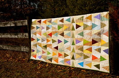"""Leave aTrail"" quilt (Sewfrench) Tags: leave festival modern spring triangle colorful quilt traditional trail bloggers scrap kona trailmarker handquilted 2013 leaveatrail"