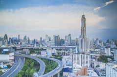 Bangkok city day view (anekphoto) Tags: road street city travel bridge blue windows light shadow sky urban blur reflection building tower grass station vertical skyline architecture modern clouds skyscraper way landscape thailand hotel town office big high construction asia downtown day cityscape view apartment bangkok district bank midtown business condo thai midnight tropical residence viewpoint condominium