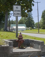 NO DOGS ALLOWED!! (NC Cigany) Tags: street sign hydrant nc fireplug loitering roper nodogs doggierestroom 20130527