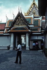 Gateway, Wat Phra Keo temple, Bangkok (1982) (Duncan+Gladys) Tags: thailand bangkok enhanced th