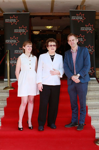 Tennis Legend Billie Jean King with Directors James Erskine and Zara Hayes at a photocall for Battle of the Sexes at Dominion