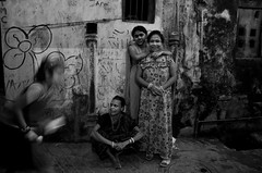Facing one's own (shankarsarkar) Tags: street friends portrait india girl night blackwhite women mother relationship kolkata intimacy westbengal sonagachi redlightarea trafficked