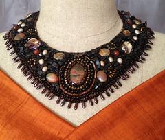 IMG_3563 (barbraalan) Tags: beadednecklace beadedcollar blackandbrownbeads