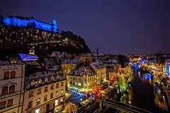 Castle on the hill at cold winter night (Iztok Alf Kurnik) Tags: christmas nightphotography travel bridge winter snow streets cold castle tourism weather night canon river geotagged boat europe nightshot cathedral hill fair tourist slovenia weatherproject ljubljana celtic oldtown clearsky tms mol barka laibach ljubljanica tema slovenian travelphotography markiii ncg tellmeastory no coldnight boi illyrian boatontheriver castleonthehill streetslights oldcentre mestnaobinaljubljana oldeuropeantown pwwinter iztokkurnikphotographystudio showinmyeyes boinovzduje mestaobina stolnice ljubljanaponoi