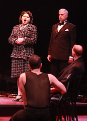Chris Newcomer (Mary Sunshine) and Tom Hewitt (Billy Flynn) in Chicago produced by Music Circus at the Wells Fargo Pavilion August 20-29, 2013. Photo by Charr Crail.