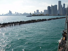 . (Kate Hedin) Tags: sky lake chicago water lines skyline boat illinois ship michigan horizon sails windy rope pirate sail tall mast adventures