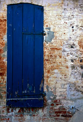 Blue shutters (grumpybaldprof) Tags: wood france streets building contrast doors colours timber details bricks architectural textures age features normandie honfleur slate normandy wandering collombage