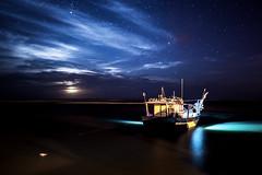 MOONRISE (CUMBUGO) Tags: ocean light brazil sky moon color reflection beach water nova night clouds stars boat nikon long exposure nikkor barra f28 d800 1424mm d800e