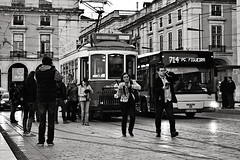 Street scene from Lisbon (mgkm photography) Tags: street nightphotography urban blackandwhite black portugal photography photo nikon europa europe emotion lisboa lisbon gimp sigma praa rua monochrom pretoebranco bnw blackandwhitephotography pretobranco elctrico lightzone ptbw ilustrarportugal nikonflickraward streettogs vision:text=0587 vision:outdoor=0886 vision:car=058