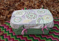 Green Mosaic Picnic Basket with Liner (ree-creation-mosaics) Tags: china pink roses green picnic basket mosaic piqueassiette picnicbasket