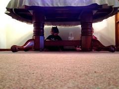 341 of 365 - hiding ([ the black star ]) Tags: friends boy playing silly feet girl kids table floor mask things kingston stuff batman cape hiding shrug preschooler navaeh 341365 theblackstar threehundredfortyone uploaded:by=flickrmobile colorvibefilter flickriosapp:filter=colorvibe