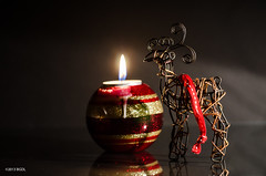 343 ~ 365 (BGDL) Tags: christmas reflections reindeer candle decoration flame candlelight 365 tabletop 365project nikond7000 bgdl lightroom5 nikkor50mm118g cy365