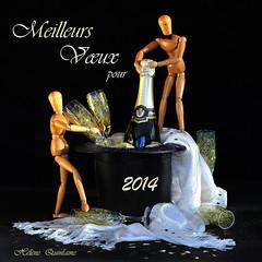 Bonne et Heureuse Année 2014 à toutes et tous ! (Hélène Quintaine) Tags: composition noir or champagne reflet chapeau blanc coupe bois bouteille naturemorte tissu personnage écharpe création étoffe bonneannée joyeusesfêtes meilleursvœux bonneannée2014 meilleursvœux2014