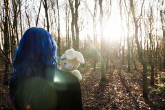 Don't look back // 02 01 14 (Manadh) Tags: trees winter england woman selfportrait rabbit bunny girl forest toy woods alone pentax sheffield fineart stuffedanimal flare conceptual bluehair cuddlytoy k3 2014 project365 lensfalre manadh