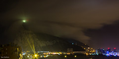 The Rock Mantled By Cloud (Sue_Hutton) Tags: cloud night lights sparkle slowshutter gibraltar beacon sparkling rockofgibraltar february2014 t189522014
