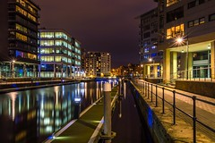 Clarence dock by night #133 (jasonmgabriel) Tags: light reflection water night buildings canal dock long exposure post path jetty yorkshire leeds clarence