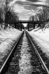 Winter railroad (Greg Stanhope) Tags: wood old bridge sky blackandwhite bw ontario canada nature train landscape landscapes wooden spring nikon moody snowy traintracks rails blacknwhite d5200 nikond5200