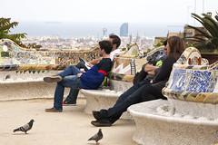 barcelona_park guell_contemplation (olga.avdeyeva) Tags: barcelona park red spain europe gaudi guell trencadis gaudibench