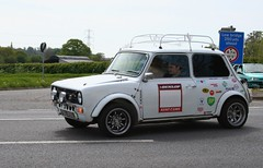 1972 AUSTIN MINI CLUBMAN 1000 (shagracer) Tags: road roof classic cars car race austin moving automobile track action rally wheels stickers mini racing luggage rack vehicle british morris 1000 bmc racer leyland inmotion clubman driven bl minilite ynu496l