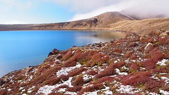 Colours of Autumn. (blue polaris) Tags: park new travel blue autumn lake landscape island volcano scenery crossing north zealand alpine national crater nz tongariro
