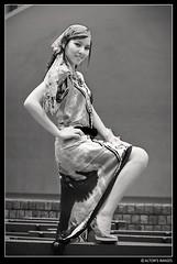 Gitane (alton.tw) Tags: summer portrait people urban blackandwhite bw woman smile fashion female scarf print asian island model glamour asia downtown dress arm outdoor leg taiwan taipei formosa   sabine gypsy alton rom altonthompson taiwanese 2007 romani gitano 228peacepark gintana  altonsimages photographicsocietyoftaipei