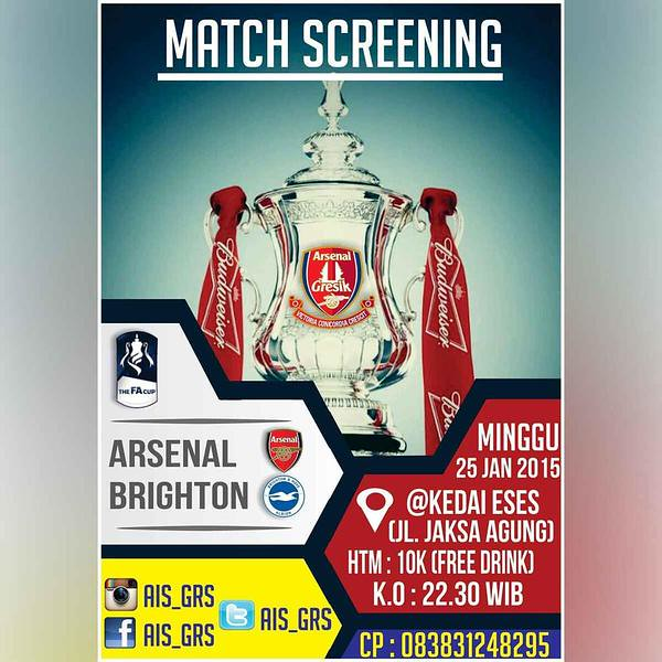 AIS Gresik #AIS @AIS_GRS: MatchScreeningAISGRS FA CUP Brighton vs ARSENAL | Minggu 25/01/15 Start 22.30 WIB HTM 10 K @KedaiESES | We Are AISGRS sW6CqUcrOMR