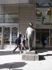 Ralph Kramden in Shadow 6590 (Brechtbug) Tags: new york city winter holiday cold bus weather statue bronze port lunch is jackie uniform day authority tie sunny front terminal an midtown his while chilly jolly february gleason ralph stands drivers straightening pail clutching clad manhattans honeymooners 2015 kramden eightfoottall kramdon 02052015