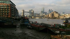 View of Tower Bridge and Mile End with Boats (grey_goshawk) Tags: bridge london tower skyscraper boats end mile