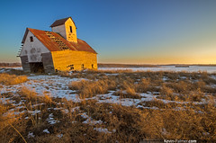 A Bad Foundation (kevin-palmer) Tags: old winter sunlight snow cold abandoned grass barn gold golden evening illinois clear lincoln prairie february unstable fallingapart corncrib collapsing kevinpalmer pentaxk5 samyang10mmf28