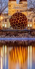 Riverfront Art (Greg Lundgren Photography) Tags: sculpture reflection night minneapolis mississippiriver twincities onlyinmn