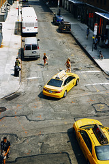 Untitled (reinfected) Tags: above street new york city nyc people bird eye up car yellow walking person moving high view metro taxi down scene taxis busy metropolis higher