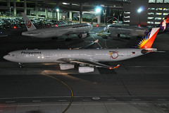 RP-C3438 (Rich Snyder--Jetarazzi Photography) Tags: california ca night plane dark airplane lights sfo aircraft jet startup airbus pr pal departure airliner a340 millbrae departing pushback philippine jetliner sanfranciscointernationalairport philippineairlines ksfo a340300 a343 atower a340313 rcta 75thanniverary rpc3438 ramptowera