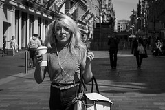 More Coffee Required (Leanne Boulton) Tags: life street city uk morning light shadow portrait people urban blackandwhite bw woman sunlight white black detail texture coffee girl monochrome beautiful beauty face fashion female canon hair 50mm mono scotland living blackwhite eyes eyecontact pretty shadows natural humanity outdoor expression glasgow candid young culture streetphotography streetlife scene human tired shade portraiture 7d blonde society depth tone facial candidportrait candidstreetphotography candideyecontact