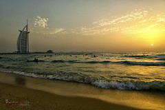Sunset at Burj Al Arab (Arthur Comia) Tags: sunset beach dubai waves burjalarab