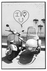 I-love-U-vespa (Mike Buick) Tags: street blackandwhite bw art monochrome car buick vespa side scooter iloveyou nikkor nikonf3 nikonf3hp vespas px200 iheartyou mikebuick michaelbuick