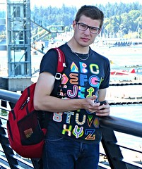 Interesting T-shirt (ManontheStreet2day) Tags: boy tshirt crotch twink jeans backpack bluejeans