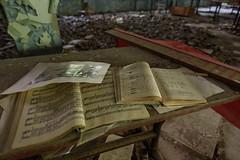 55. Pripyat School - Sheet music ([ Jaso ]) Tags: school abandoned nikon classroom pages empty nuclear books eerie ukraine gas masks disaster d750 educational emergency hollow chernobyl pripyat