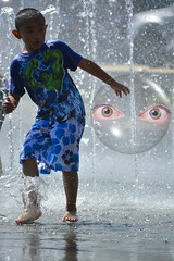 The Encounter (swong95765) Tags: boy art wet water fountain kid eyes play being ufo bubble alive splash survival reluctant primal cautious instinct sentient