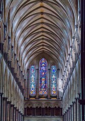 Stained glass window and ceiling detail - Salisbury Cathedral (AngelCrutch) Tags: salisburycathedral stainedglasswindows ceilings religion religiousbuilding historicbuilding architecture brightcolours colourful church cathedral uk britain britishhistory england