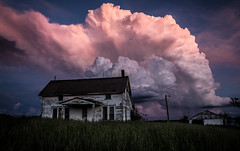 (Rodney Harvey) Tags: sunset cloud house storm abandoned weather rural colorful decay missouri lightning