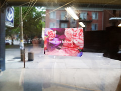 You are beautiful (Exile on Ontario St) Tags: door flowers red roses flower reflection fleur beautiful station rose fleurs ads subway advertising pub sticker montral metro montreal mtro transport ad makeup twin sherbrooke transit vandalism porte stm transports cosmetics publicit passerby socit peonies mtrodemontral autocollant cosmetic advertizing advertise youarebeautiful montrealmetro passersby rflexion vandalisme collant passante tattoing esthetics sherbrookemetro advertize stationsherbrooke twinpeonies