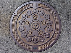 Mitoya Shimane, manhole cover  (MRSY) Tags: mitoya shimane japan manhole flower