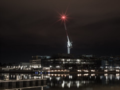 Guardian of Boat Harbor - Kingston - ACT - 20160528 @ 04:58 (MomentsForZen) Tags: water skyline night reflections lights construction scaffolding crane au australia hasselblad kingston redlight starburst lightroom australiancapitalterritory aircraftwarninglight lensstarburst momentsforzen hasselblad500cmcfv50c