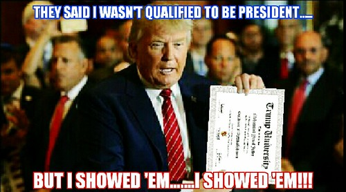Indeed, Donald, you are not qualified.  But you did get there didn't you, you old con artist you.