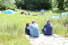 Enjoying the sun outside in a break from workshops (Permaculture Association) Tags: wales cymru gathering ecovillage permaculture 2016 lammas paramaethu