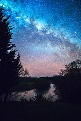 Milky way (borealnz) Tags: morning trees winter newzealand sky cold night river stars nz otago milkyway