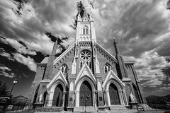 St Mary's In The Mountains (melfoody) Tags: bw building history church architecture clouds blackwhite catholic nevada virginiacity wildwest